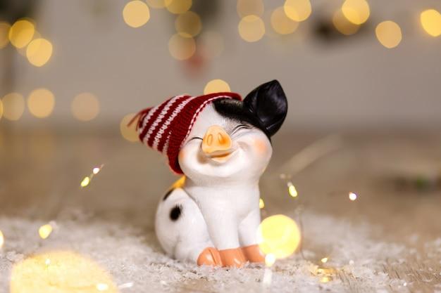 Leuk varken in een hoed op de sneeuw
