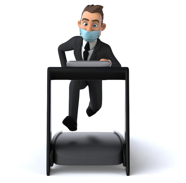 Leuk zakenman stripfiguur met een masker