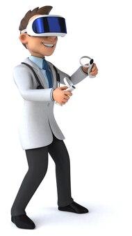 Leuke 3d-afbeelding van een arts met een vr-helm