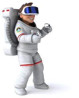 Leuke 3d-afbeelding van een astronaut met een vr-helm Premium Foto