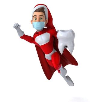 Leuke 3d-afbeelding van een cartoon kerstman met een masker