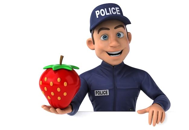 Leuke 3d-afbeelding van een cartoon-politieagent