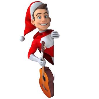 Leuke 3d-afbeelding van een leuke super kerstman