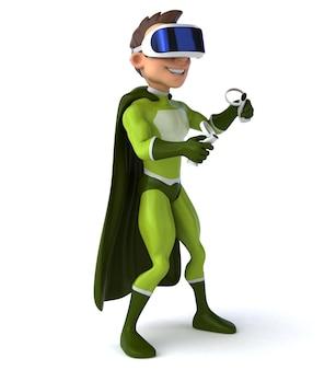 Leuke 3d-afbeelding van een superheld met een vr-helm