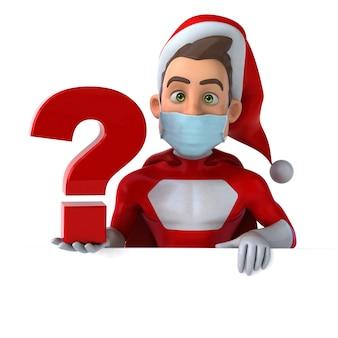 Leuke 3d-afbeelding van een tekenfilm van de kerstman met een masker
