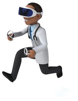 Leuke 3d-illustratie van een arts met een vr-headset
