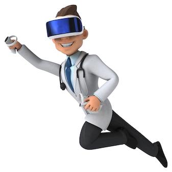 Leuke 3d-illustratie van een arts met een vr-helm