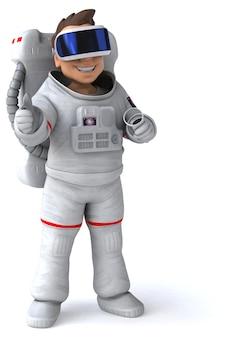Leuke 3d-illustratie van een astronaut met een vr-helm