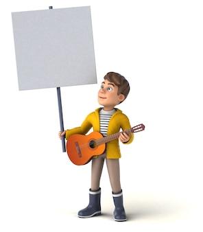 Leuke 3d illustratie van een cartoon jongen met regenkleding