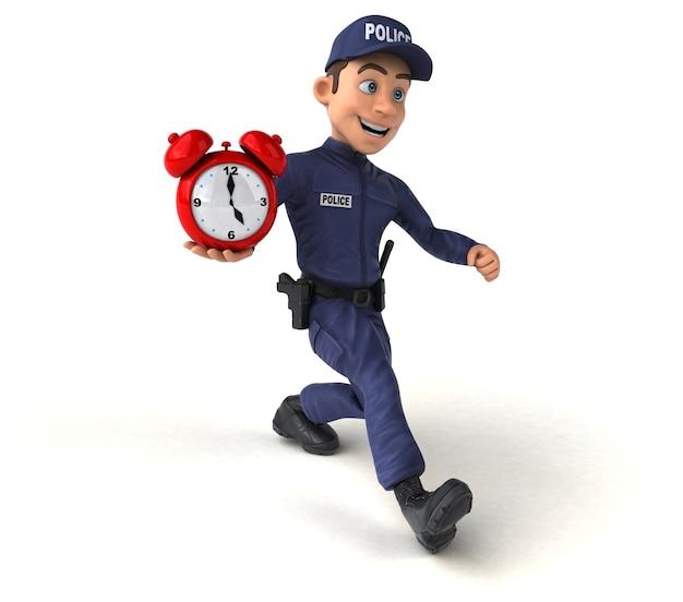 Leuke 3d illustratie van een cartoon politieagent