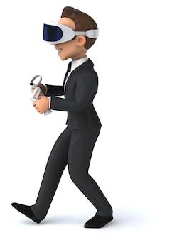 Leuke 3d illustratie van een cartoonzakenman met een vr-helm