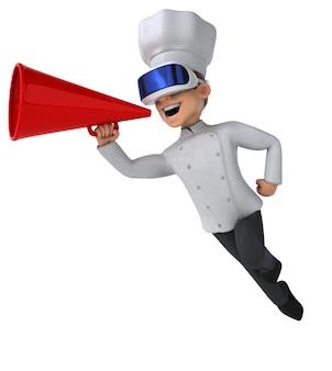 Leuke 3d-illustratie van een chef-kok met een vr-helm