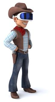 Leuke 3d-illustratie van een cowboy met een vr-headset