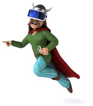 Leuke 3d-illustratie van een galliër met een vr-headset