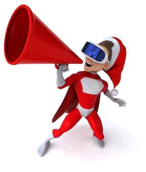 Leuke 3d-illustratie van een super kerstman met een vr-helm