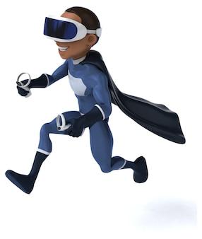 Leuke 3d-illustratie van een superheld met een vr-helm