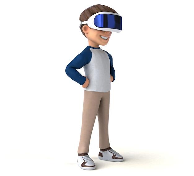 Leuke 3d-illustratie van een tekenfilmjongen met een vr-headset