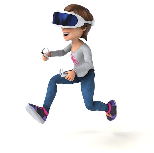 Leuke 3d-illustratie van een tienermeisje met een vr-headset