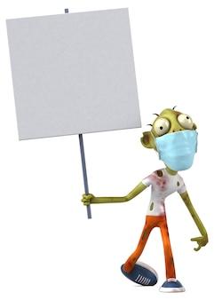 Leuke 3d-tekenfilm zombie met een masker