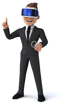 Leuke 3d-weergave van een cartoon-zakenman met een vr-helm