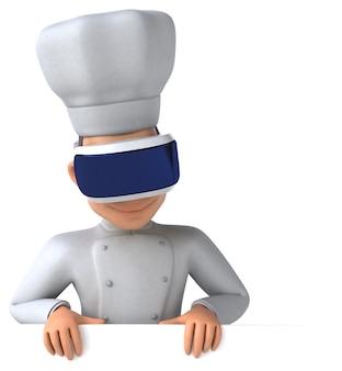 Leuke 3d-weergave van een chef-kok met een vr-helm