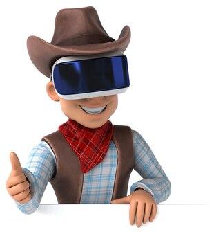 Leuke 3d-weergave van een cowboy met een vr-helm