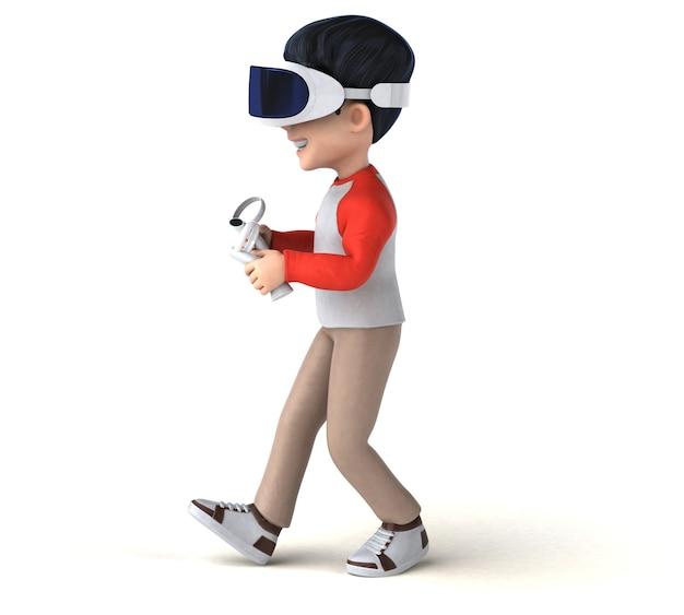 Leuke 3d-weergave van een tekenfilmjongen met een vr-helm