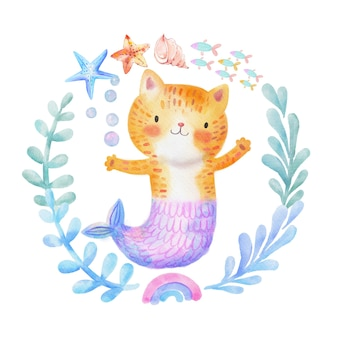 Leuke aquarel miauw-meid purr-meid kat zeemeermin. kleine kitty zeemeermin in een kiddish-stijl.