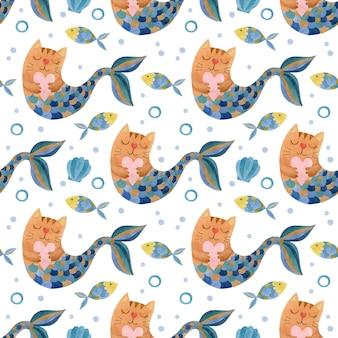 Leuke aquarel naadloze patroon katten zeemeerminnen