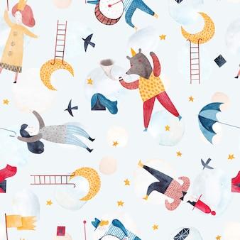 Leuke aquarel patroon. fantastische droomwereld met afbeeldingen van grappige mensen, ramen, trompettistbeer, sterren en maan. kinderachtig naadloos patroon.