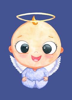 Leuke artoon kerst engel jongen. aquarel illustratie op blauwe achtergrond