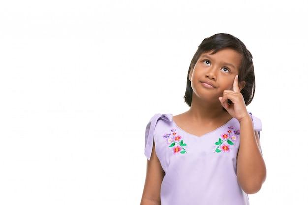 Leuke aziatische donkere meisje denkende emotie op gezicht.