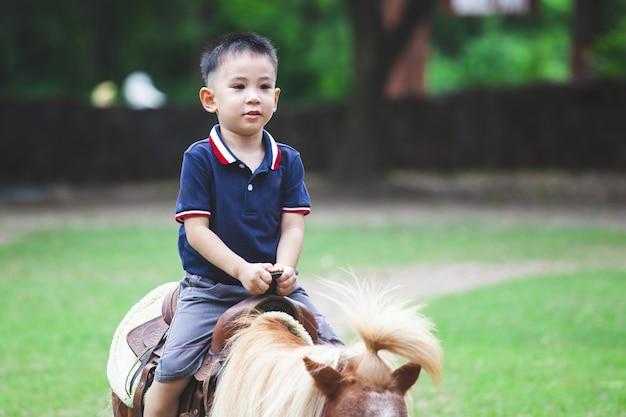 Leuke aziatische kindjongen die een poney in het landbouwbedrijf met pret berijdt
