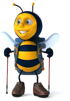 Leuke backpacker bee - 3d illustratie
