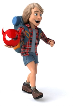 Leuke backpacker cartoon man