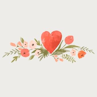 Leuke bloemen hart vintage wenskaart