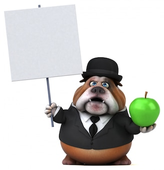 Leuke bulldog met appel en leeg bord