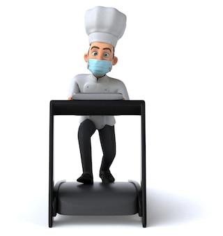 Leuke cartoon chef-kok met een masker