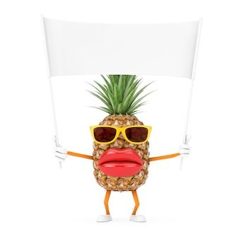 Leuke cartoon fashion hipster gesneden ananas persoon karakter mascotte en lege witte lege banner met vrije ruimte voor uw ontwerp op een witte achtergrond. 3d-rendering