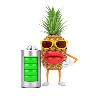 Leuke cartoon fashion hipster gesneden ananas persoon karakter mascotte met abstracte opladen batterij op een witte achtergrond. 3d-rendering