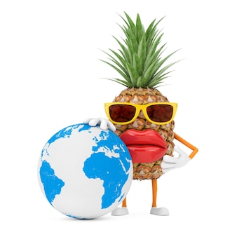 Leuke cartoon fashion hipster gesneden ananas persoon karakter mascotte met earth globe op een witte achtergrond. 3d-rendering