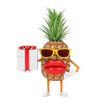 Leuke cartoon fashion hipster gesneden ananas persoon karakter mascotte met geschenkdoos en rood lint op een witte achtergrond. 3d-rendering