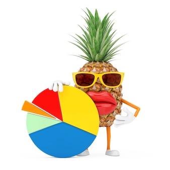 Leuke cartoon fashion hipster gesneden ananas persoon karakter mascotte met info graphics business cirkeldiagram op een witte achtergrond. 3d-rendering