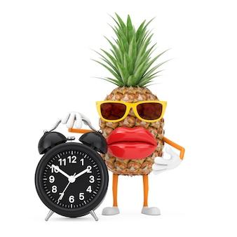Leuke cartoon fashion hipster gesneden ananas persoon karakter mascotte met met wekker op een witte achtergrond. 3d-rendering