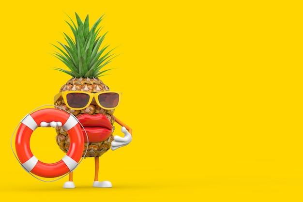 Leuke cartoon fashion hipster gesneden ananas persoon karakter mascotte met reddingsboei op een gele achtergrond. 3d-rendering