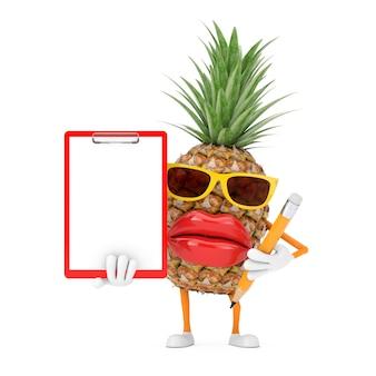 Leuke cartoon fashion hipster gesneden ananas persoon karakter mascotte met rode plastic klembord, papier en potlood op een witte achtergrond. 3d-rendering
