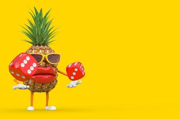 Leuke cartoon fashion hipster gesneden ananas persoon karakter mascotte met rode spel dobbelstenen kubussen tijdens de vlucht op een gele achtergrond. 3d-rendering