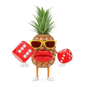 Leuke cartoon fashion hipster gesneden ananas persoon karakter mascotte met rode spel dobbelstenen kubussen tijdens de vlucht op een witte achtergrond. 3d-rendering