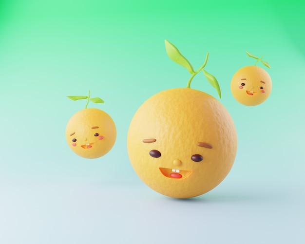 Leuke cartoon karakter oranje fruit met gezicht en glimlach 3d render illustratie