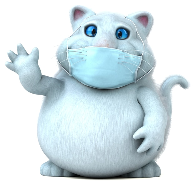 Leuke cartoon kat met een masker